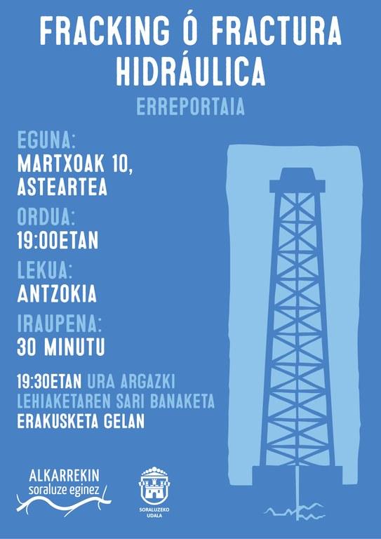 Fracking-ari buruzko erreportaje emanaldia uraren eguna dela-eta