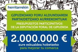 Gipuzkoako aurrekontuetako 2.000.000 euro zertan inbertitu erabakitzeko bilera barixakuan